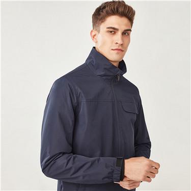 純色防潑水立領夾克