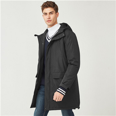 Hooded mid-long quilted coat