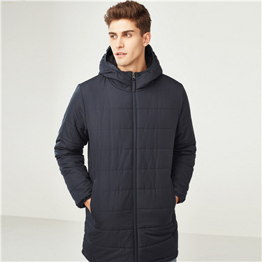 Water resistant middle-long hooded cotton coat
