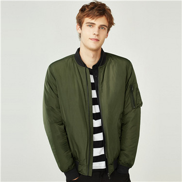 Solid quilted baseball jacket