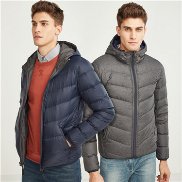 Reversible hooded lightweighted down jacket