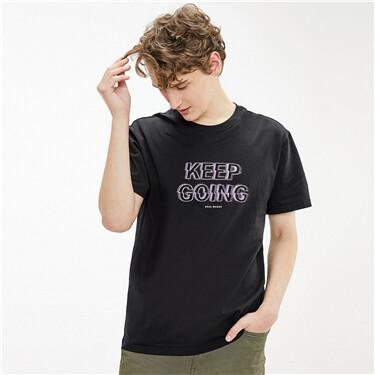 印花图案纯棉圆领短袖T恤