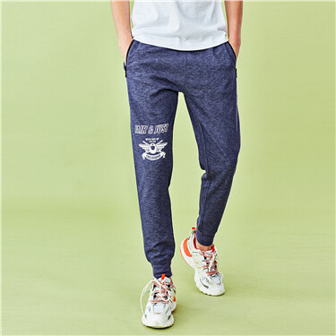 Contrast letter elastic waistband joggers