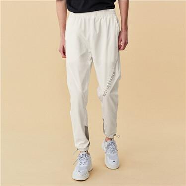 Elastic waistband printed contrast pants