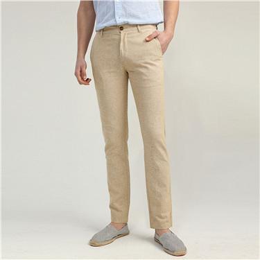 天然麻棉中低腰休闲长裤