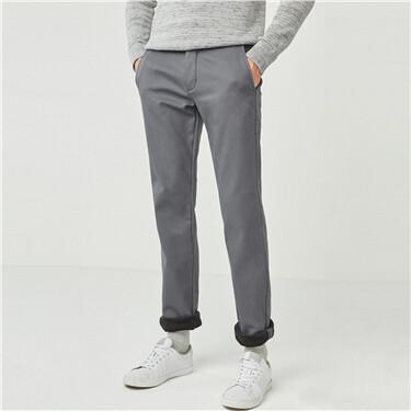 厚实纯色休闲长裤