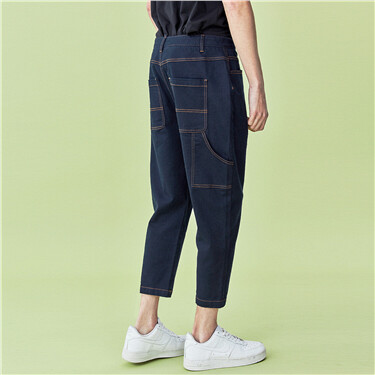 Faux denim ankle-length pants
