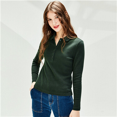 Stretchy plain knitted long-sleeve polo shirt