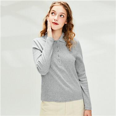 Strethy plain knitted long-sleeve polo shirt