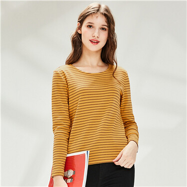 Stretchy stripe crewneck t-shirt