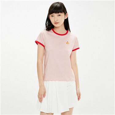 纯棉刺绣撞色边圆领短袖T恤