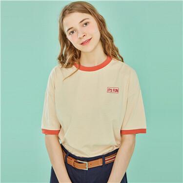 字母刺绣撞色圆领短袖T恤