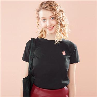 Embroidery animal drop-shoulder sleeve tee