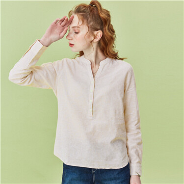 Linen-cotton v-neck half placket shirt