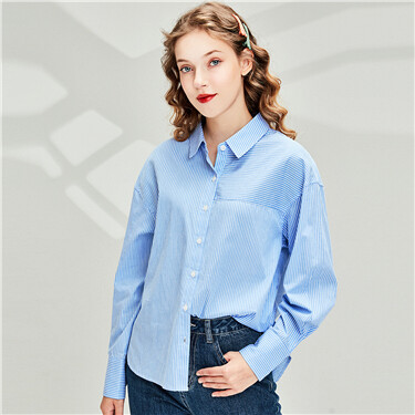 Longer hem at back stripe shirt