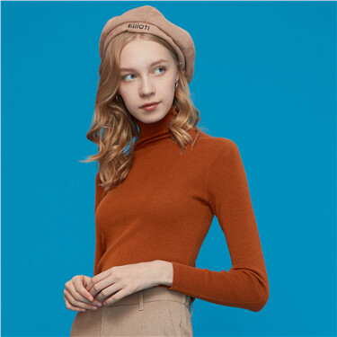 Solid turtleneck knitted sweater