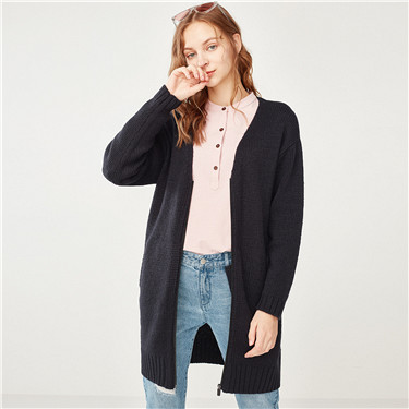 厚实V领长款针织衫外套