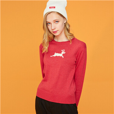 Printed graphic crewneck knitted sweater