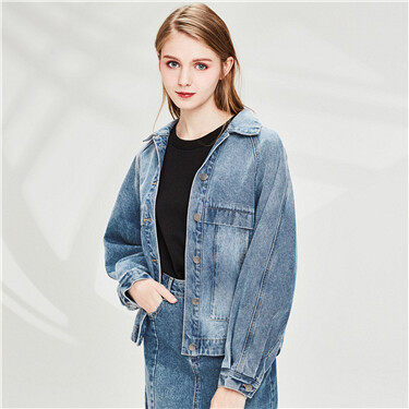 Loose raglan sleeves slant pockets denim jacket
