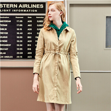 Turn-down collar waistbanded mid-length jacket