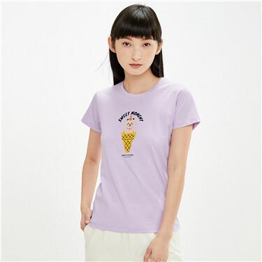 字母印花纯棉圆领短袖T恤