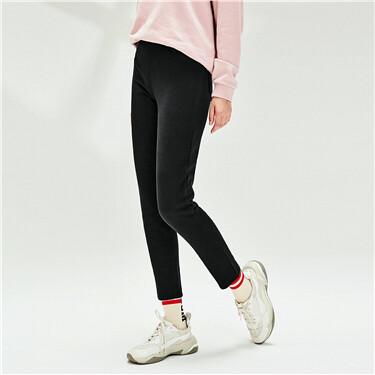 Thick fleece-lined elastic waistband pants