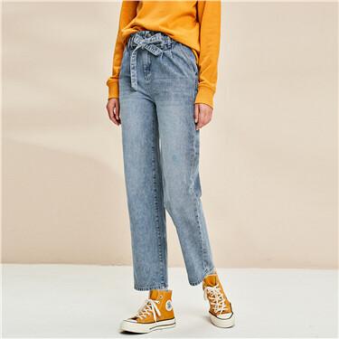 腰带装饰阔腿直筒牛仔裤