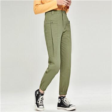Cotton cargo patch pockets pants