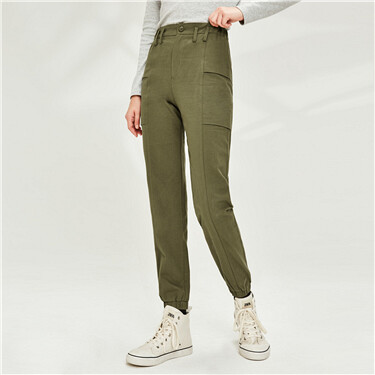 Elastic waistband banded cuffs pants