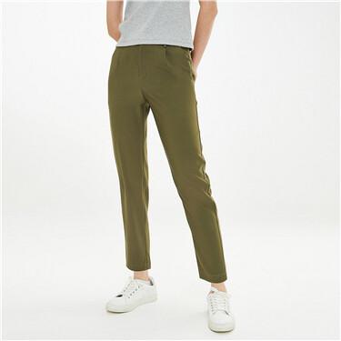 纯色打褶中腰西装直筒休闲裤