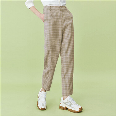 Mid-rise straight plaid pants