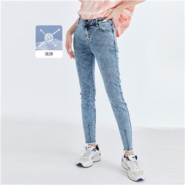 高弹毛边裤脚修身牛仔九分裤
