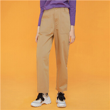 Solid Mid-Rise Ankle-Length Casual Pants