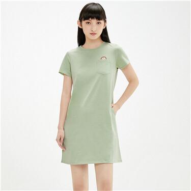 纯棉动物刺绣口袋圆领连衣裙