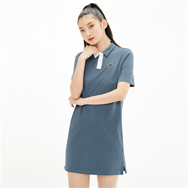 Asymmetrical contrast embroidery polo dress