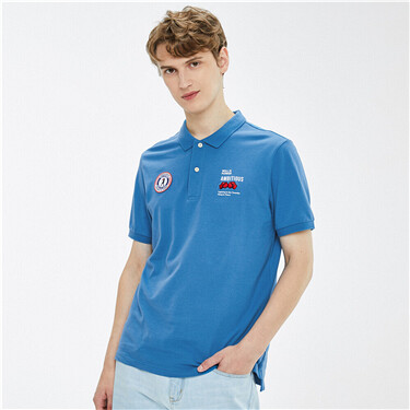 Contrast stretchy short-sleeve polo shirt