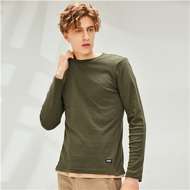 Thick slim cotton crewneck long-sleeve tee