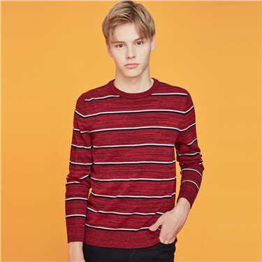 Stripe crewneck long-sleeve knitted sweater