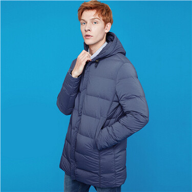 Mid-long 90% white duck down hooded coat