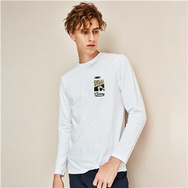 Printed cotton crewneck t-shirt