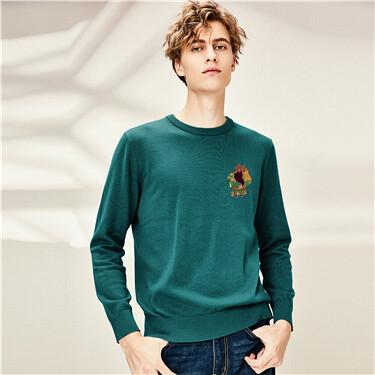 Printing crewneck loose sweatshirt