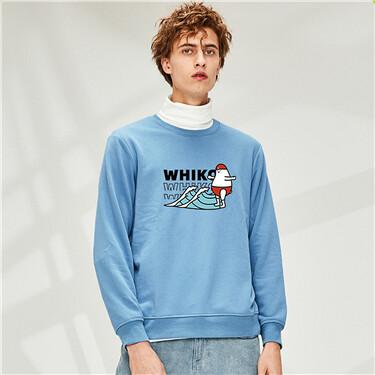 Printed Crew Neck Pullover Sweatshirt