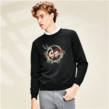 Printed Crew Neck Sweatshirt