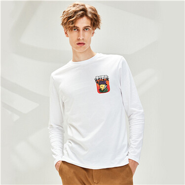 Printed Cotton Crew Neck Long-sleeves Tee