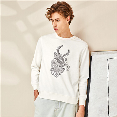 Crewneck loose printed sweatshirt