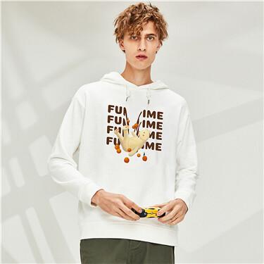 Printed long-sleeve hoodie