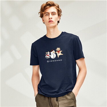 Printed short sleeves cotton crewneck T-shirt