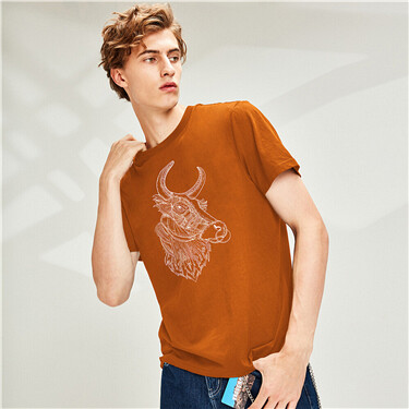 Printed short sleeves cotton crewneck T-shirt