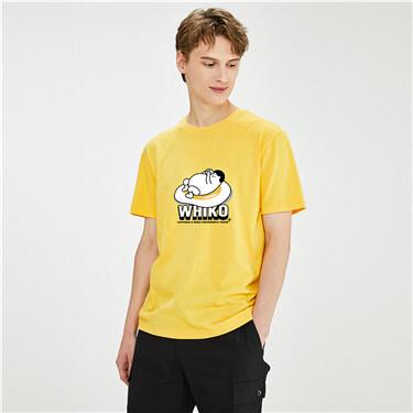 【WHIKO谜之生物联名】佐丹奴T恤新款太阳蛋棉t恤男短袖