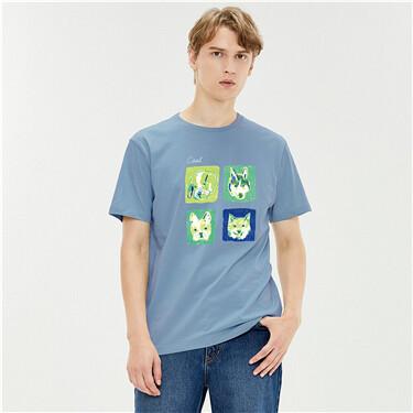 印花纯棉男圆领短袖T恤